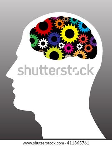 Human head with gears. Head thinking. Flat illustration. - stock vector