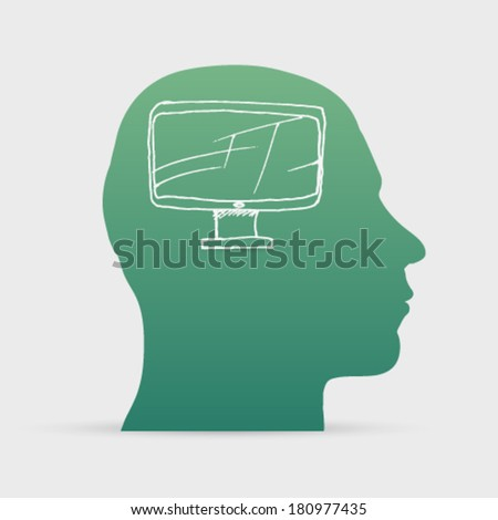 Human head with hand drawn smart tv icon background illustration