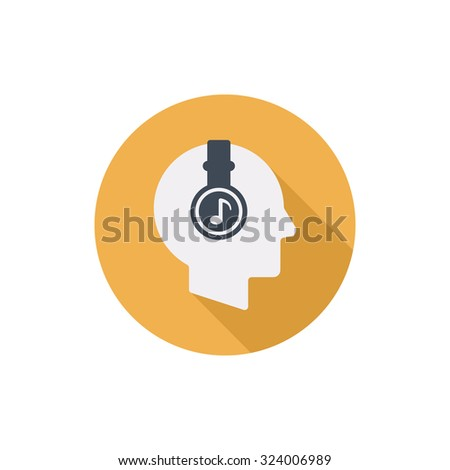 Human head with headphones vector flat round icon with long shadow isolated on white background - stock vector