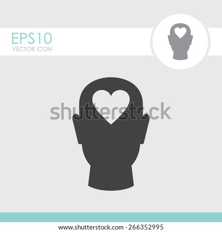 Human head with heart vector icon. - stock vector