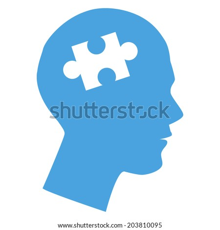 Human head with puzzle pieces - stock vector