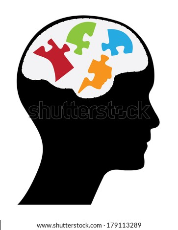 Human head with puzzle shaped head, creative vector design with colorful pieces. - stock vector