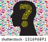 Human head with question mark symbol made from symbols technology - stock photo