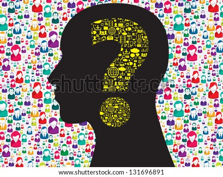 Human head with question mark symbol made from symbols technology - stock vector