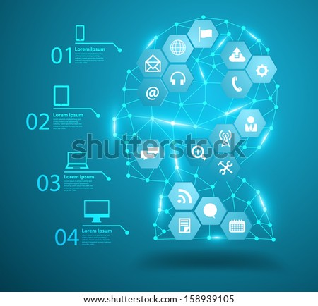 Human head with social network icons, Communication in the global computer networks, Vector illustration modern design template, workflow layout, diagram, step up options - stock vector