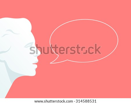 Human head with speech bubble. Flat illustration on pink background  - stock vector