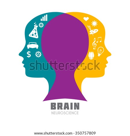Human head with symbolic left & right brain functions illustration. Creative & analytical brain division concept icon template for Neuroscience, Psychology & Medicine, intellectual games. Sample text. - stock vector