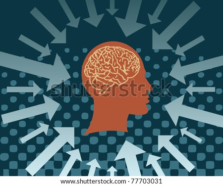 Human head with the brain and the arrows, vector illustration