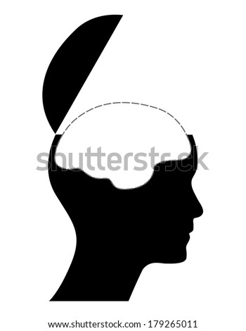 Human head with white brain, creative vector illustration.