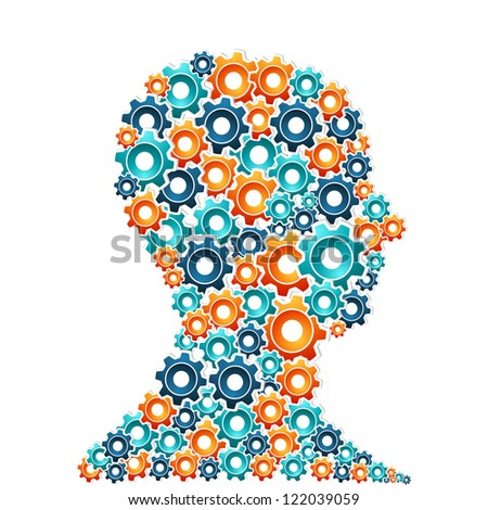 Human head with working gears in progress. Innovative thinking concept. Vector illustration layered for easy manipulation and custom coloring. - stock vector