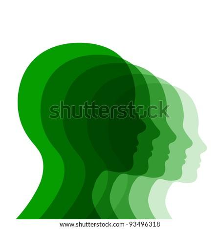 Human heads. Abstract illustration. - stock vector