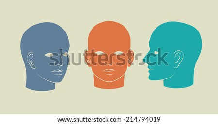 Human heads full-face, half-face and three-quarter. Vector silhouette illustration - stock vector