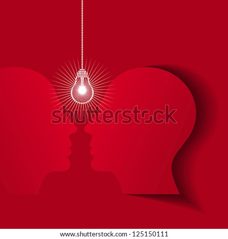 Human heads with Bulb symbol Business, concepts - stock vector