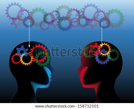 Human heads with many gears - stock vector