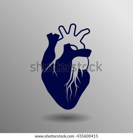 Human heart blue on a gray background - stock vector