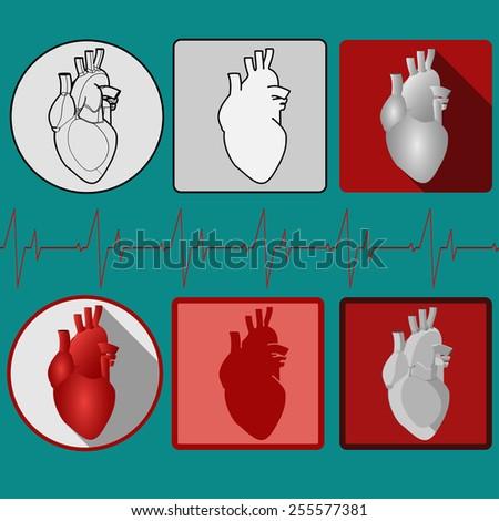 Human heart icon set with cardiogram. Medical icon. Vector Pictogram - stock vector