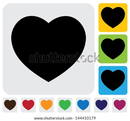 human heart icons ( signs ) or symbols for love - simple vector graphic. This illustration has the love icon on grey, green, orange and blue backgrounds & useful for websites, documents, printing - stock vector
