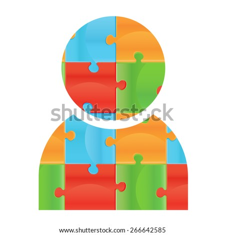human icon made of puzzle pieces. Isolated puzzle pieces on white background  Design elements for your logo. Business man icon made of puzzle. Badge for web design - stock vector