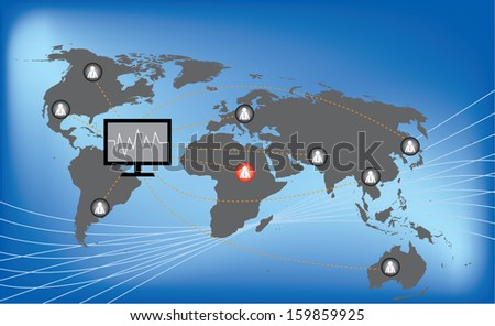 Human icon with line link on world map