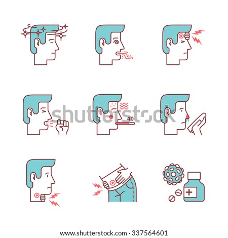 Human illness and diseases symptoms signs set. Ill man avatars. Thin line art icons. Flat style illustrations isolated on white. - stock vector