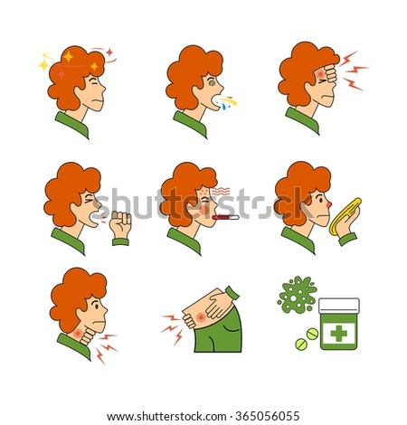 Human illness and diseases symptoms signs set. Sick people avatar. Thin line art icons. Flat style illustrations isolated on white. - stock vector
