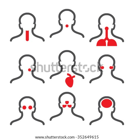 human illness icons: headache, lungs disease, throat, tooth, nosal ache, heart, eyes, ears pain illustrations. - stock vector