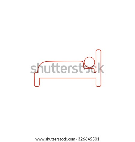 Human in bed. Red outline vector pictogram on white background. Flat simple icon - stock vector