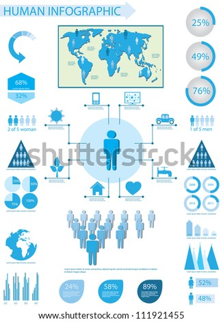 Human info graphic elements - stock vector