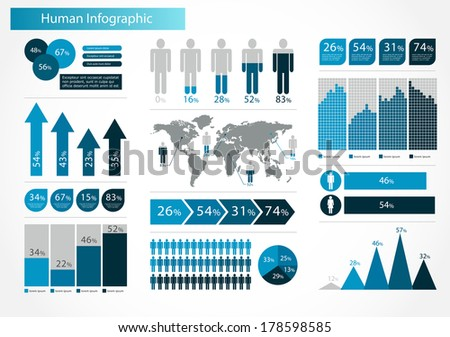 Human infographics set vector illustration. World Map and Information Graphics  - stock vector