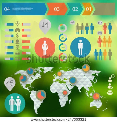 Human Infographics with world map - stock vector