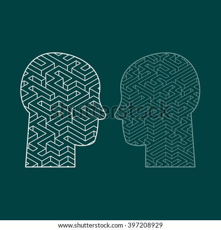 Human intelligence puzzle with a maze in the shape of a human head as a symbol of the complexity of brain thinking as a challenging problem to solve by medical doctors. - stock vector