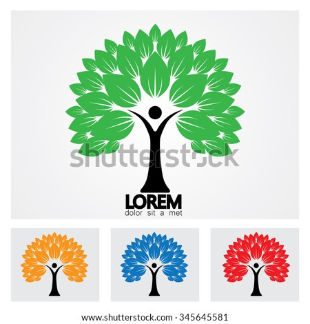 human life logo icon of abstract people tree vector set. this design represents eco friendly green, embracing, hug, friendly, education, learning, green tech, sustainable growth & development - stock vector