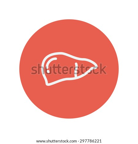 Human liver thin line icon Wounded palm wash thin line icon thin line icon for web and mobile minimalistic flat design. Vector white icon inside the red circle. - stock vector