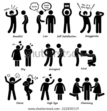 Human Man Character Behaviour Stick Figure Pictogram Icons - stock vector