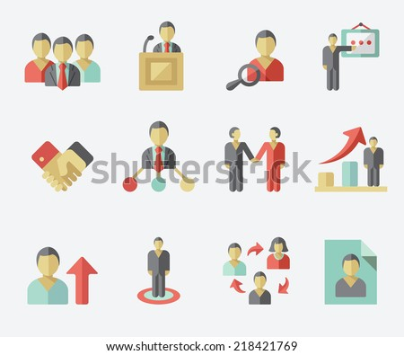 Human management icons - stock vector