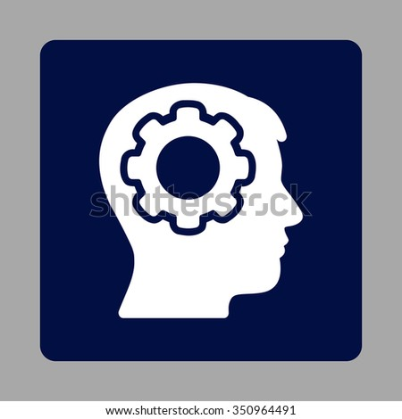 Human Memory vector icon. Style is flat rounded square button, white and dark blue colors, silver background. - stock vector