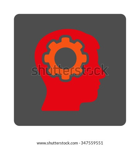 Human Memory vector icon. Style is flat rounded square silver button with red symbol, white background. - stock vector
