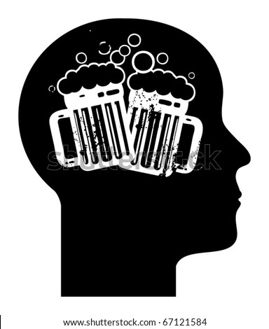 Human mind - beer mugs, vector illustration - stock vector