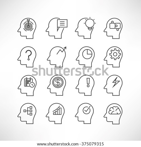 human mind icons, head brain icons, thinking icons - stock vector