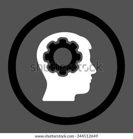Human Mind vector icon. Style is bicolor flat rounded symbol, black and white colors, rounded angles, gray background. - stock vector