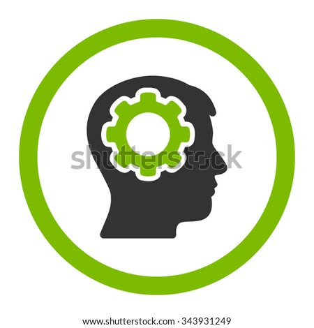 Human Mind vector icon. Style is bicolor flat rounded symbol, eco green and gray colors, rounded angles, white background. - stock vector