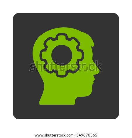 Human Mind vector icon. Style is flat rounded square button, eco green and gray colors, white background. - stock vector
