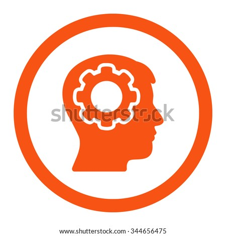 Human Mind vector icon. Style is flat rounded symbol, orange color, rounded angles, white background. - stock vector