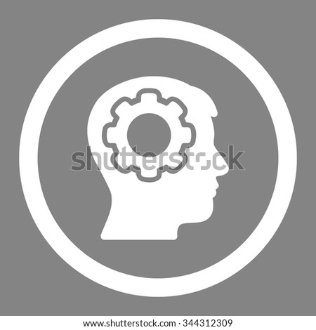 Human Mind vector icon. Style is flat rounded symbol, white color, rounded angles, gray background. - stock vector