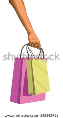 Human people woman girl men male right hand hold holding bag paper packing shopping commercial gift shop store empty package. Vector beautiful closeup side view isolated white background illustration