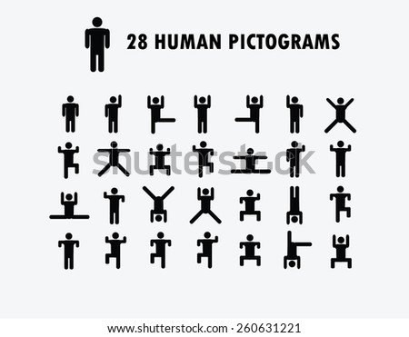 Human Pictogram  Icons, vector illustration