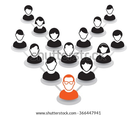 Human portrait and Icon. Vector Illustration. Office team and Leader - stock vector