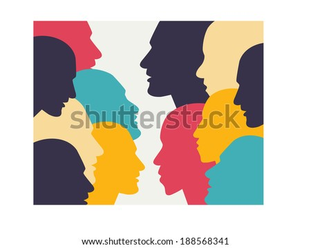 Human profile head in dialogue. Simply flat design. Vector illustration. - stock vector