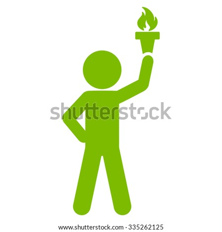 Human Profile With Freedom Torch vector icon. Style is flat symbol, eco green color, rounded angles, white background. - stock vector