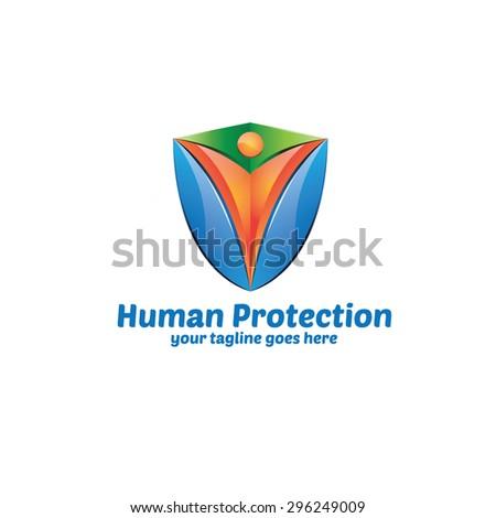 Human Protection Logo - stock vector